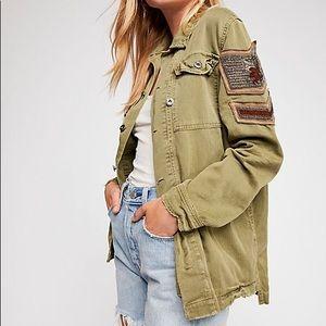 Free People Embellished Military Jacket XS